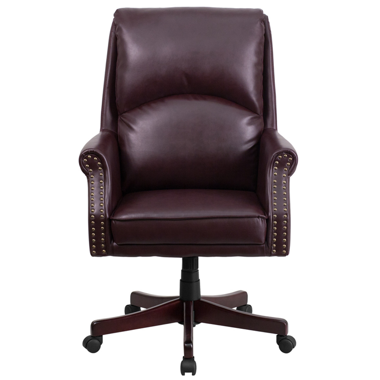 Flash Furniture Burgundy Leather Pillow Back Office Chair with Nailhead Trim