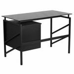 Flash Furniture Black Glass Computer Desk with 2 Drawer Pedestal