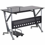 Flash Furniture Black Glass Computer Desk with Keyboard Platform and CPU Cart