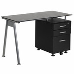 Flash Furniture Black Glass Computer Desk with Three Drawer Pedestal