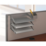 Bush Office In An Hour Hansen Cherry L Shaped Workstation with Storage and Accessory Kit