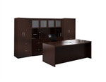 10 Piece Mayline Aberdeen Casegoods Furniture Set with Mocha Finish - AT9LDC