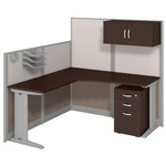 Bush Office In An Hour Mocha Cherry L Shaped Cubicle with Storage and Accessory Kit