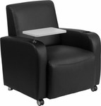 Flash Furniture Black Leather Tablet Chair with Wheels and Cup Holder