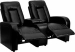 2 Person Black Leather Home Theater Recliner with Storage Console by Flash Furniture