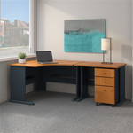 """Bush Series A 48"""" Corner Desk with 36"""" Return and Mobile File Cabinet (7 Finish Combinations!)"""