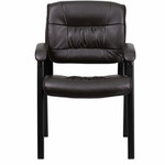 Flash Furniture Brown Leather Guest / Reception Chair with Black Frame Finish