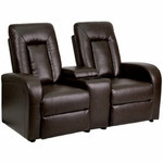 2 Person Brown Leather Home Theater Recliner with Storage Console by Flash Furniture