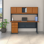 "Bush Series A 72"" Desk with Hutch and 3 Drawer Pedestal SRA051"