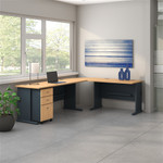 "Bush Series A 99"" x 75"" L Shaped Desk with Mobile File Cabinet SRA060"