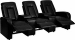 3 Person Black Leather Home Theater Recliner with Storage Consoles by Flash Furniture