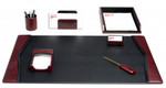 Dacasso 7 Piece Burgundy Leather Desktop Stationary Set D7004