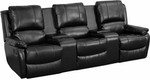 3 Person Black Leather Pillow Top Home Theater Recliner with Storage Console by Flash Furniture (Middle Seat Does Not Recline)