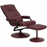 Flash Furniture Burgundy Leather Recliner with Ottoman