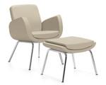 Global Kate Series Modern Leather Lounge Chair and Ottoman Set