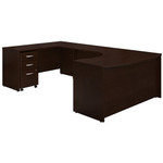 Bush Series C 60W Left Hand Bow Front U Desk with 3 Drawer Pedestal