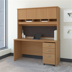 "Bush Series C 60W x 24""D Office Desk with Hutch and Mobile File"