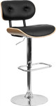 Flash Furniture Button Tufted Black Vinyl Bar Stool with Beech Bentwood Accents