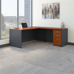 "Bush Series C 72"" L-Shaped Desk with 48"" Return and Mobile File Cabinet"