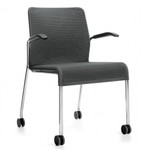 Global Lite Series Mesh Side Chair with Arms and Casters (24 Color Options Available!)