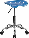 Flash Furniture Chrome Base and Bright Blue Tractor Seat Stool