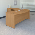 Bush Series C 72W Bow Front Desk with 48W Return and 3 Drawer Pedestal SRC084