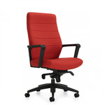 Global Luray Collection High Back Leather Office Chair with Knee Tilter Mechanism