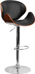 Flash Furniture Contemporary Curved Walnut Bar Stool with Black Vinyl Seat