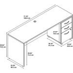 Bush Series C 72W x 24D Straight Front Desk with Pedestal SRC026