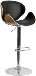 Flash Furniture Contemporary Curved Wood Bar Stool with Black Vinyl Seat Beech Finish