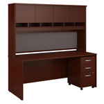 Bush Series C 72W x 30D Office Desk with Hutch and Mobile File Cabinet SRC080