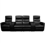 4 Person Black Leather Home Theater Recliner with Storage Consoles by Flash Furniture