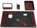 Dacasso Burgundy Leather and Gold Tooled 7 Piece Stationary Set