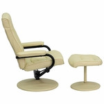 Flash Furniture Cream Leather Recliner with Ottoman