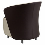 Flash Furniture Dark Brown Leather Reception Chair with Beige Detailing