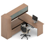 Global Princeton L Shaped Desk Layout with Overhead Hutch A1J