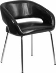 Flash Furniture Fusion Curved Back Black Leather Guest Chair