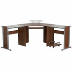 Flash Furniture Glass Accented Teakwood Laminate Corner Desk with Pull Out Keyboard Tray and CPU Cart
