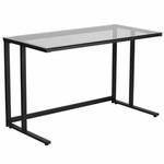 Flash Furniture Glass Computer Desk with Black Pedestal Frame