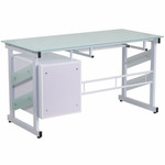 Flash Furniture Glass Computer Desk with White Frame and Pedestal