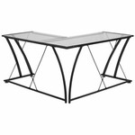 Flash Furniture Glass L-Shaped Computer Desk with Black Frame Finish