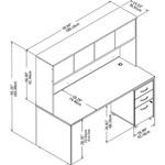 Bush Studio C 72W x 30D Desk with Hutch and Mobile File Cabinet