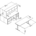 Bush Business Furniture Studio C 72W x 30D Height Adjustable Standing Desk, Credenza and Storage