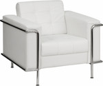 Flash Furniture HERCULES Lesley Series Contemporary White Leather Chair with Encasing Frame