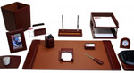 Dacasso Mocha Leather 16 Piece Desk Set D3041