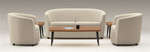 Global Sirena Series 3 Seat Leather Reception Sofa 3374LM