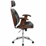 Flash Furniture High Back Black Leather and Wood Executive Chair