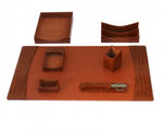 Dacasso Protacini Cognac Brown Italian Patent Leather 7 Piece Desk Set D6104
