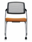 Global Spritz Armless Mesh Guest Chair with Front Leg Casters 6764FC