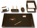 Dacasso Walnut and Leather 10 Piece Executive Stationary Set D8420